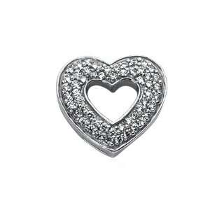 0.8 Carat Diamond 14K White Gold Heart Pendant Necklace