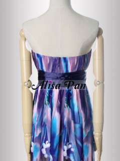 Strapless Floral Printed Sweetheart Neckline Chiffon Prom Dress 09572