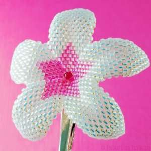 Plumeria Flower   sparkly white and pink   beaded flower clip Beauty