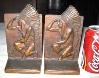ART SCULPTURE STATUE INDIAN EAGLE FEATHER TOMAHAWK BOOKENDS