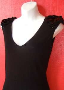ROMEO & JULIET COUTURE black sweater PARTY dress with sequin shoulders