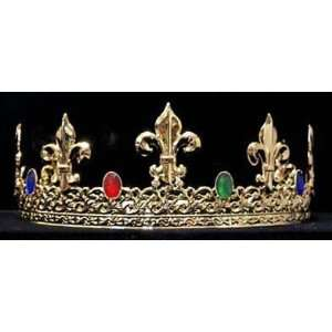 Mens Kings Gold Plated Crystal accent Pagaent Crown