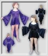 Gothic Medieval Gypsy DARK Angel tail BLACK GIRLS FLARED bell sleeve