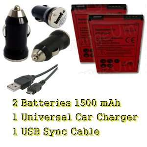 HTC EVO 4G 2X Battery + Universal Car Auto Charger + USB