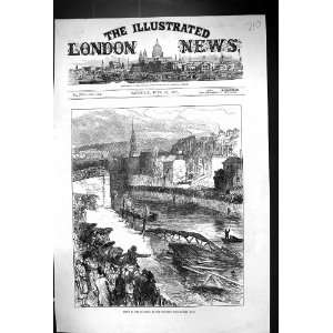 1877 Scene Disaster Widcombe Foot Bridge Bath River Boats
