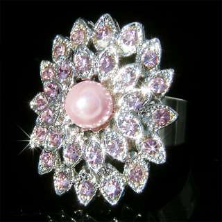 PURPLE Crystal Bridal Jewelry party Faux PEARL Ring NEW