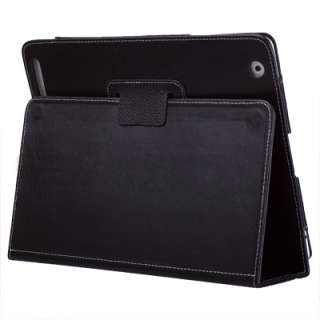 Black Leather Case Cover with Stand for Apple iPad 2