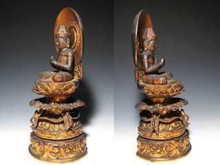 EDO Gilt Wood Japanese Buddhist Buddha DAINICHI Nyorai Statue God