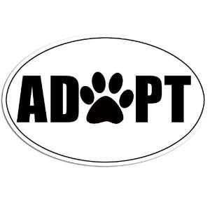White Oval ADOPT Paw Sticker