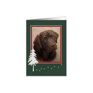 Labrador Portrait Painting Happy Holiday Tree and Paw Tracks Card