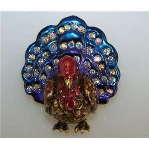 Kirks Folly TURKEY TROT PIN BROOCH Thanksgiving Bird AB