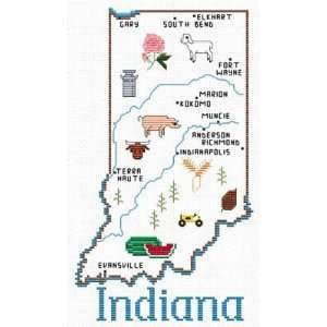 Indiana Map   Cross Stitch Pattern: Arts, Crafts & Sewing