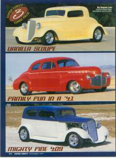 1934 41 35 CHEVY STREET RODS ORIGINAL 1999 ARTICLE