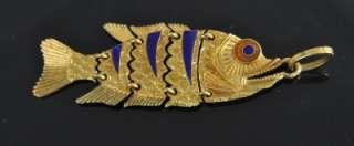 Vtg 18K Gold Blue Enamel Articulated 3D Fish Lure Charm Pendant