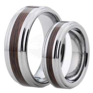 His Hers Tungsten Carbide Wood Inlay Shinny Step Edges 2 pcs Wedding