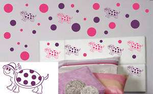 TURTLES AND POLKA DOTS VINYL WALL ART DECAL STICKER SET