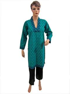 Trendy Fashion Designer Women Tunic TopTurquoise Printed Cotton Kurti