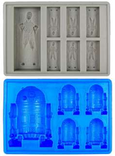 Star Wars Han Solo In Carbonite & R2 D2 Silicon Ice Cube Tray Set Of 2