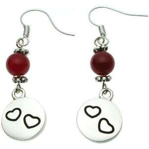 Red Agate Bali Earrings with Loving Hearts Charm Jewelry