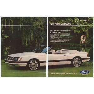 White Ford Mustang Convertible 2 Page Print Ad (20678)