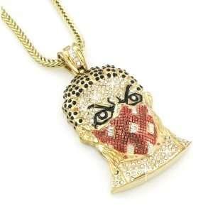 Gold Finish Iced Hip Hop Goon Mask Pendant + Franco Chain