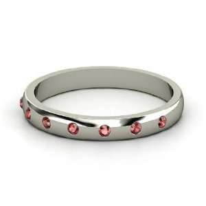 Button Band, Sterling Silver Ring with Red Garnet