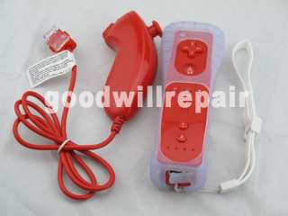 2x Red Remote Nunchuck Controller Set For Nintendo Wii