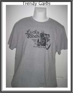 New Lucky Brand mens t shirt classic fit gray tee L