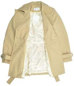 New Womens CALVIN KLEIN Khaki TRENCH RAIN COAT JACKET belted Tan Size
