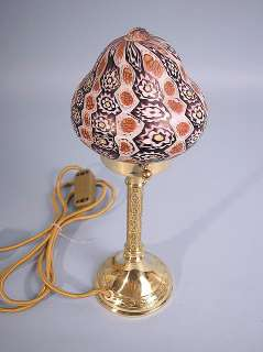 MURANO BRASS FOOT GLASS TABLE LAMP MILLEFIORI VINTAGE