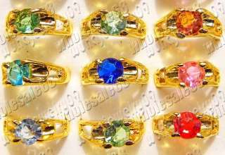 wholesale lots 100pcs multi color rhinestone gold plated womens rings
