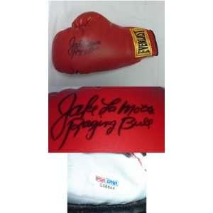 Jake LaMotta Signed Boxing Glove PSA COA Raging Bull   Autographed