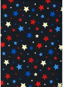 RED OFF WHITE BLUE STARS ON NAVY~ Cotton Quilt Fabric