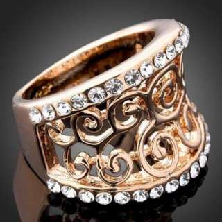 ARINNA Swarovski Crystal r gold GP Fashion Finger Rings