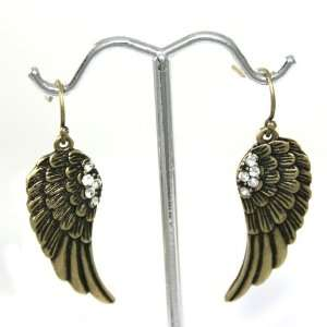 Charm Dangle Earrings with Crystal Accents Antique Gold Tone Jewelry