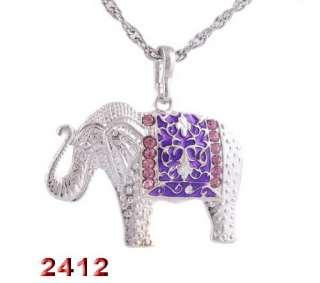 4p Elephant 34*47MM Rhinestone Crystal Enamel Silver Color Pendant