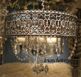 SHABBY FRENCH COTTAGE PARIS CHIC STYLE DECOR JEWELED JEWEL CANDLE