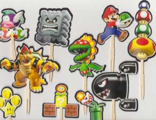New Super Mario Bros Brothers Cupcake Cake Toppers Birthday Party