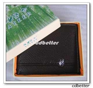 Men Genuine Leather BI FOLD Wallet Purse Card Case Gift