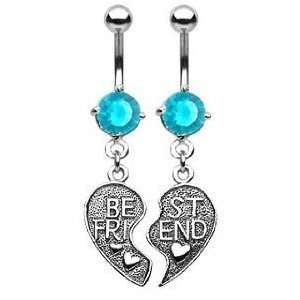 Aqua Lt Blue Cubic Zirconia Best Friends Heart Dangle Belly button