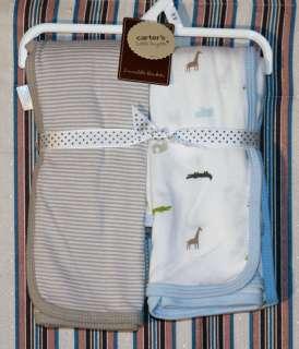 NWT Carters Swaddle Blanket 2pc Newborn Baby Boys Safari Blue Brown
