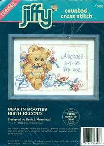 Ruth Morehead BEAR IN BOOTIES BIRTH RECORD Baby Newborn Cross Stitch