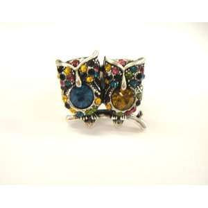 New Amazing Multi Color Cute Double Owl Stretch Ring