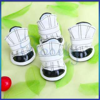 White&Black Pet Dog PU Leather Shoes Sports Boots size#
