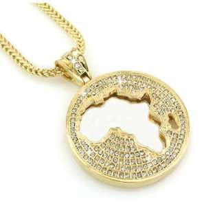 Iced Gold Tone Africa Map Pendant + Franco Chain 36