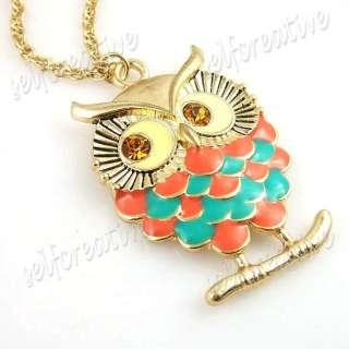 Owl Pendant Necklace Choker Crystal Gold Tone Metal Pretty