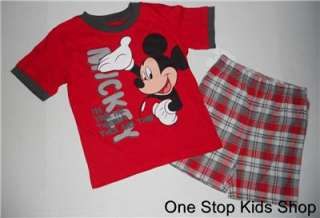 MICKEY MOUSE Boys 24 Mo 2T 3T 4T 5T Set OUTFIT Shirt Shorts DISNEY