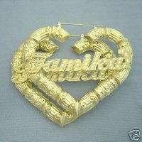 10K Gold Heart Door Knocker Bamboo Name Earrings 3HB66