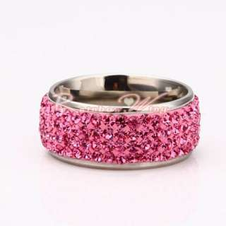 New 18K Gold Colorful Swarovski Crystal Band GP Ring