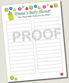 Personalized BABY SHOWER HOW MANY ITEMS NAME GAME CARDS Printed